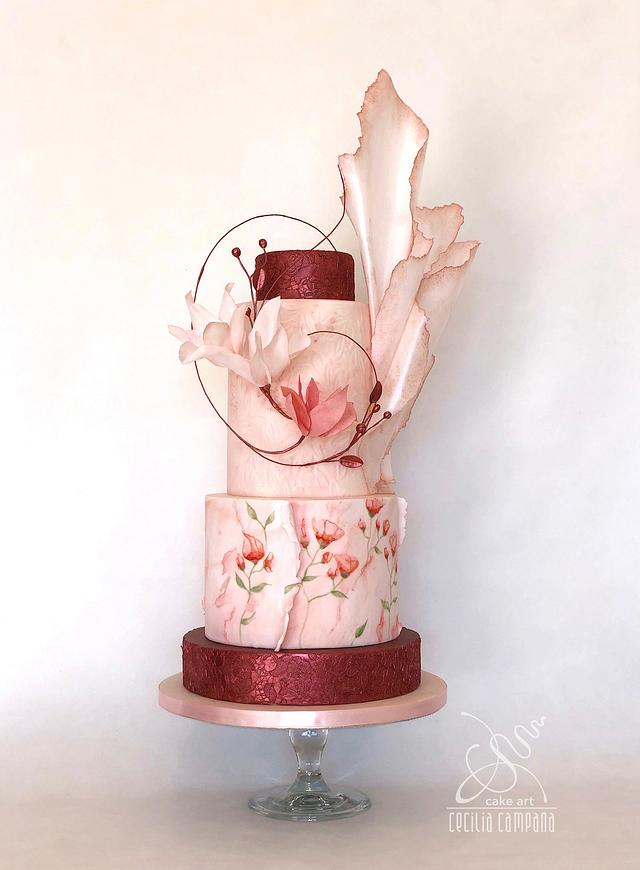 Dreaming rose wedding cake