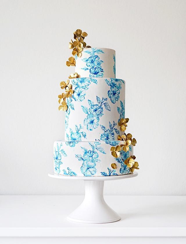Hand Painted Blue China Inspired Cake