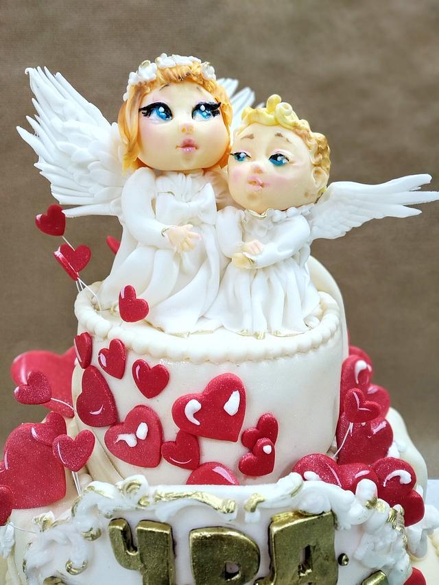 Surprising Little Angels Cake Cake By Tanya Shengarova Cakesdecor Birthday Cards Printable Nowaargucafe Filternl