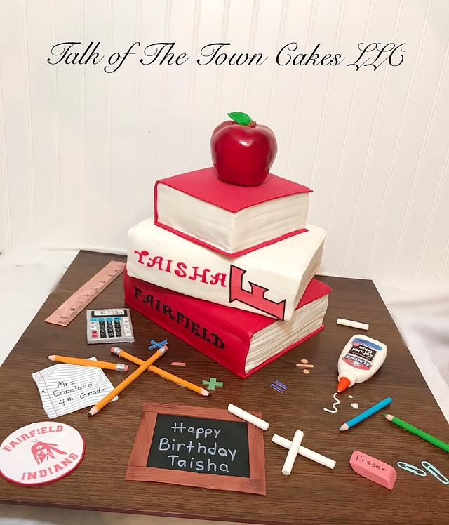 Pleasing Teacher Books Birthday Cake Cake By Talk Of The Town Cakesdecor Funny Birthday Cards Online Sheoxdamsfinfo