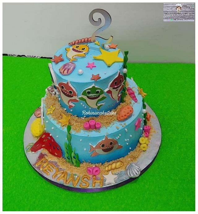 Baby shark theme cake