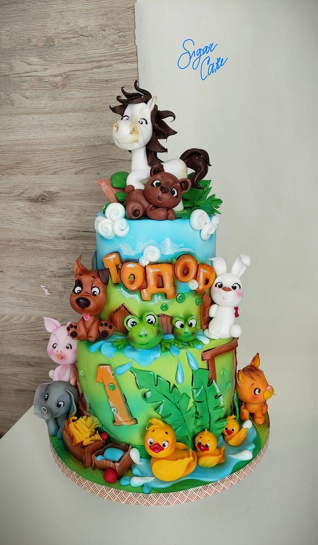 Sweet animals cake