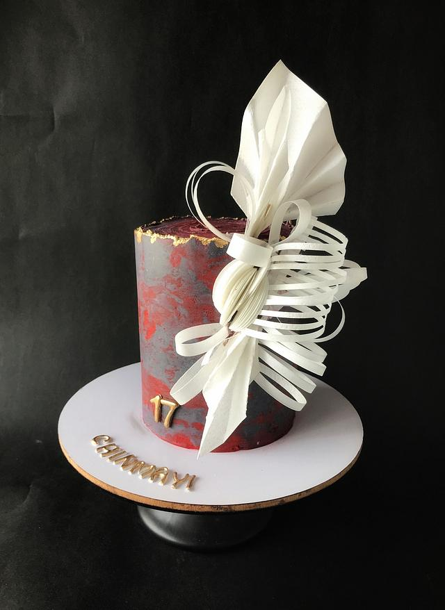 Wafer paper origami styled cake