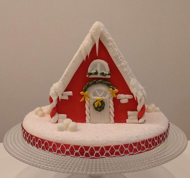 Red Christmas house cake