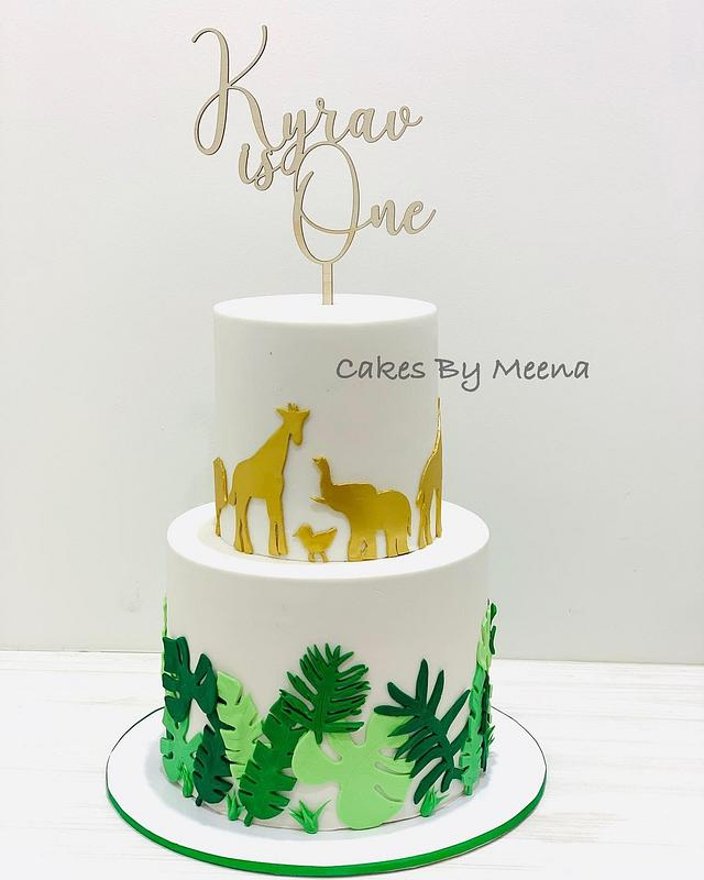 Safari Animal themed birthday cake