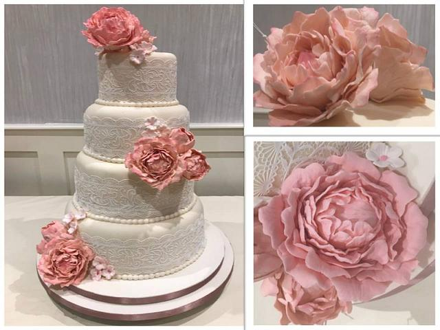 Pink Peonies, Pearls and Lace Wedding Cake