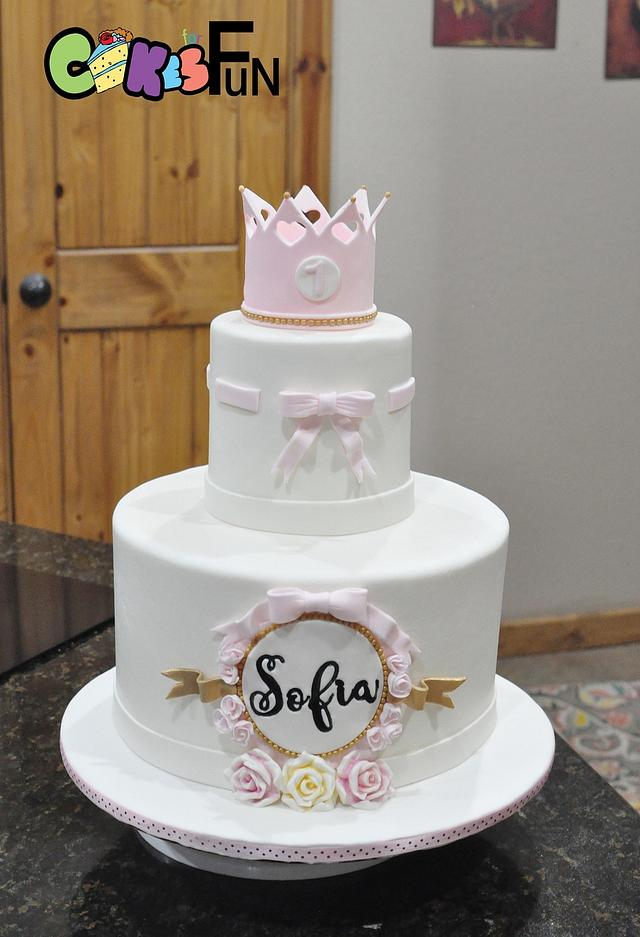 Prime Princess First Birthday Cake By Cakes For Fun Cakesdecor Personalised Birthday Cards Veneteletsinfo