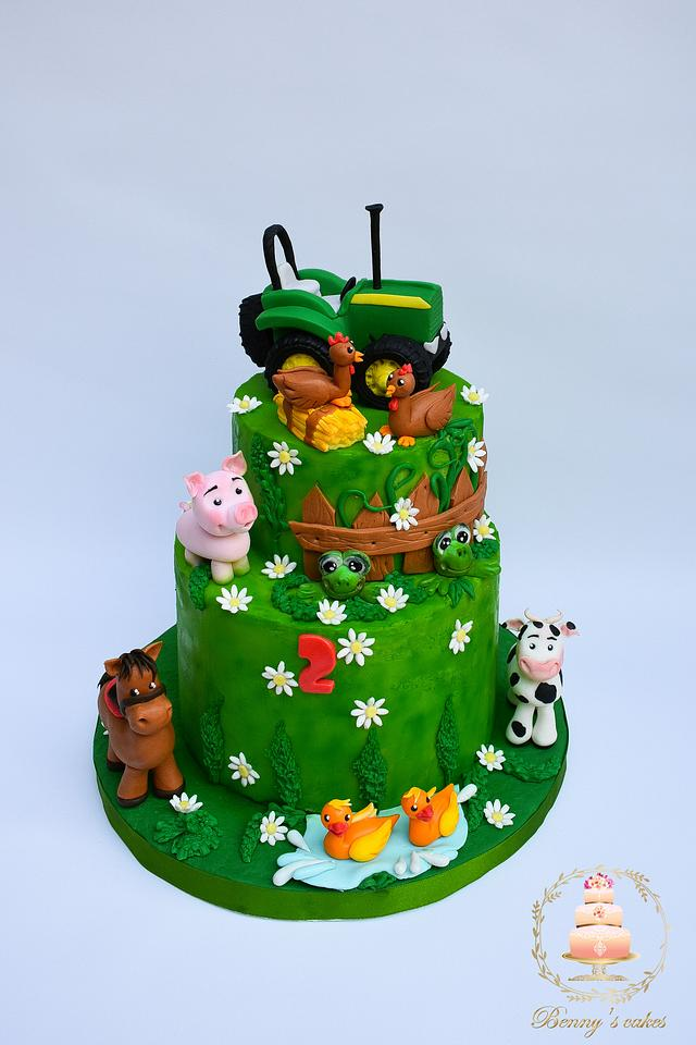 Farm cake with tractor