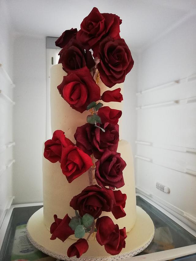 Wedding cake, sugar roses