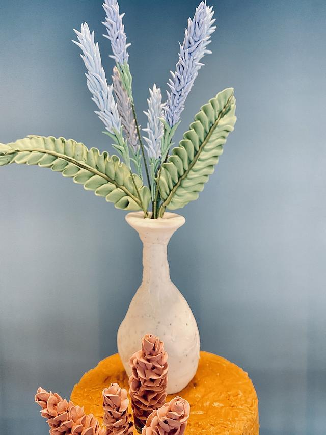 Terracotta and Lavender wedding cake