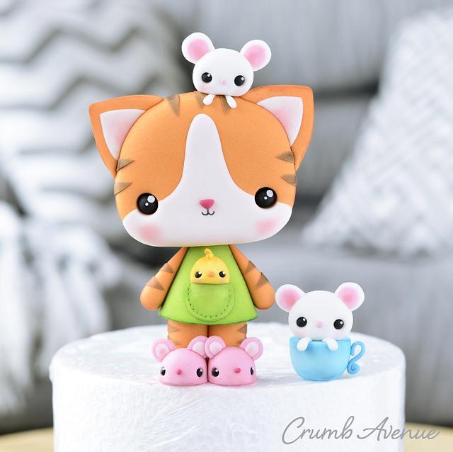 Cute Cat Cake Topper