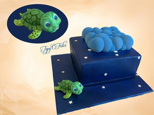 Christening cake with turtle