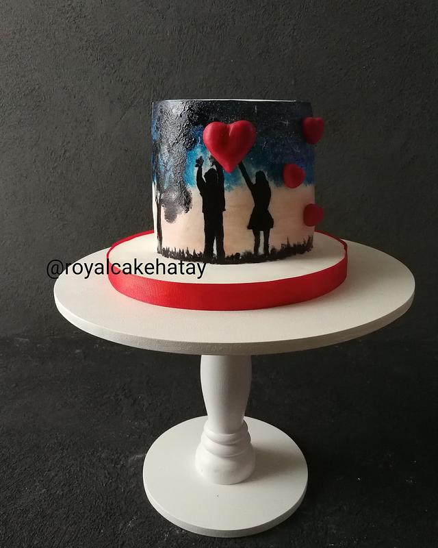 Handpainted valentines cake