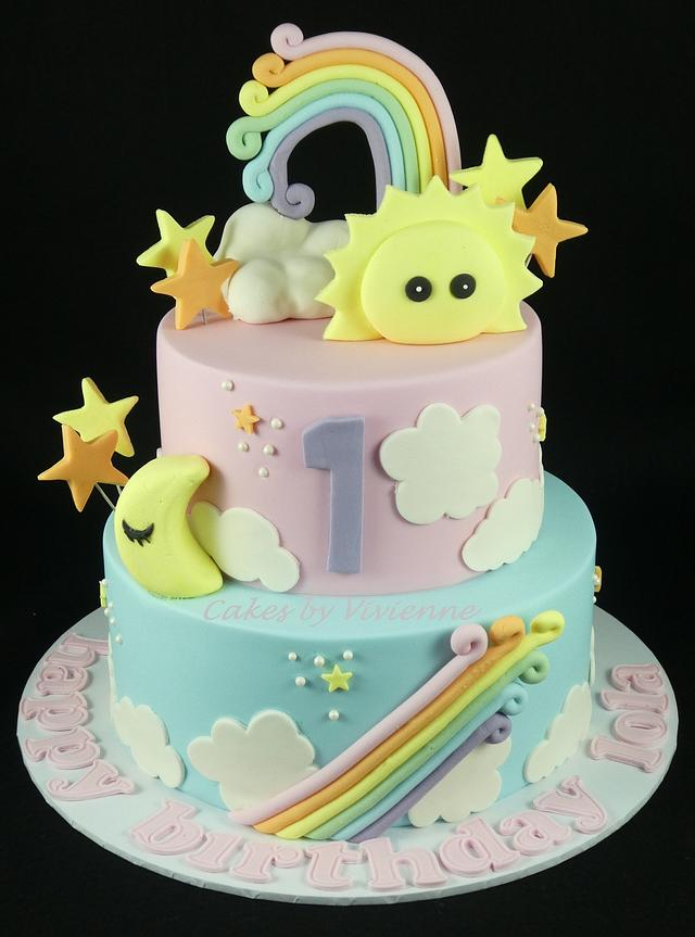 Pastel Rainbow Birthday Cake