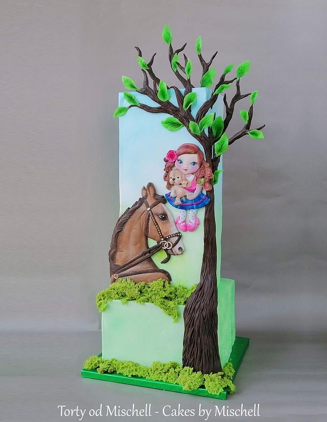 Horse and girl cake