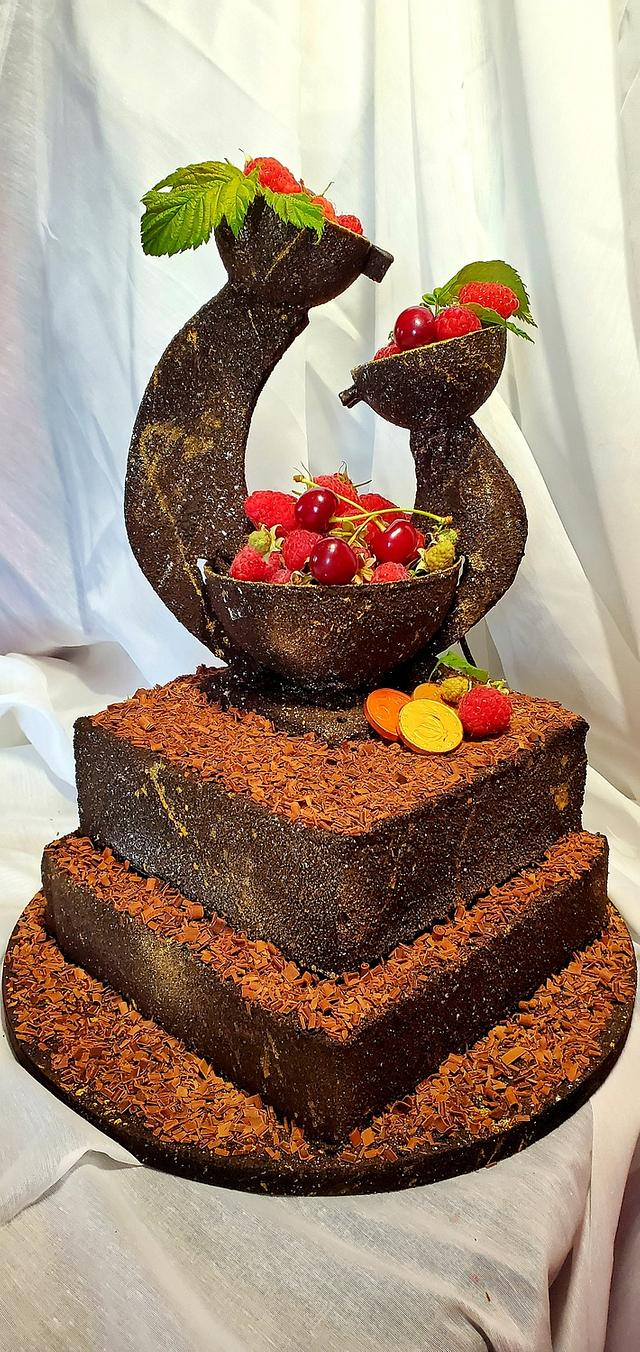 "Chocolate sculpture cake ""Fountain"""