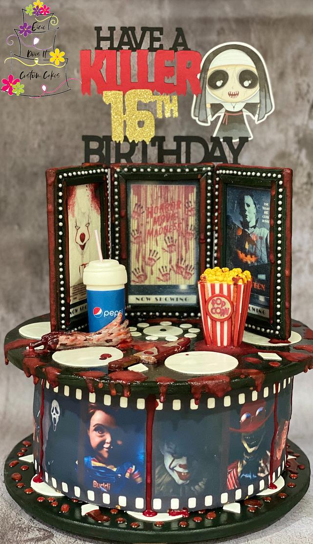Horror Movie Sweet 16 Birthday Cake