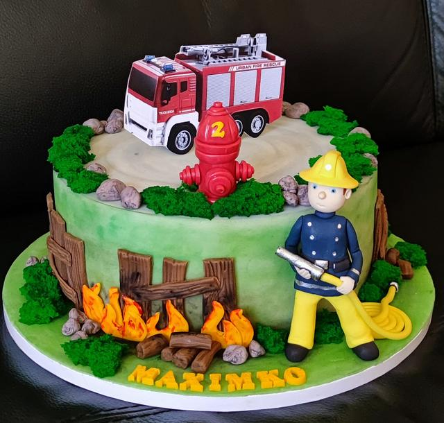 cake with firefighter