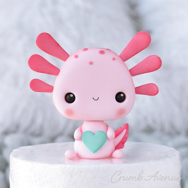 Kawaii Axolotl Cake Topper
