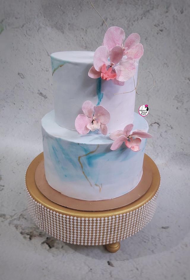Aqua & Blush Pink Wedding Cake