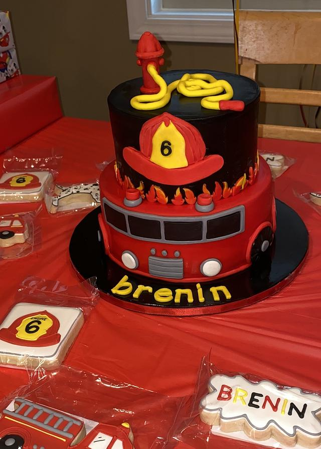 Brilliant Fire Engine Truck Birthday Cake Cake By Colormehappy Cakesdecor Funny Birthday Cards Online Alyptdamsfinfo