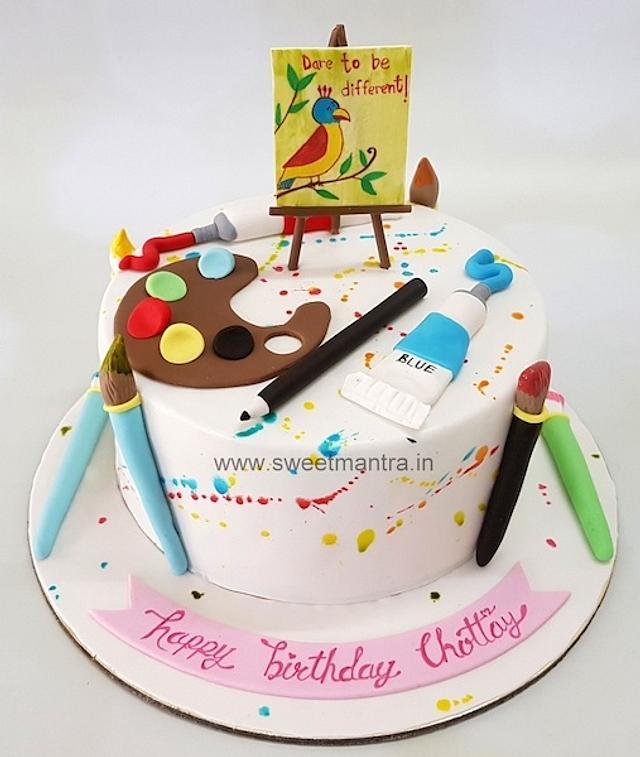 Amazing Painting Theme Customised Cake For Wifes Birthday Cake Cakesdecor Funny Birthday Cards Online Hendilapandamsfinfo