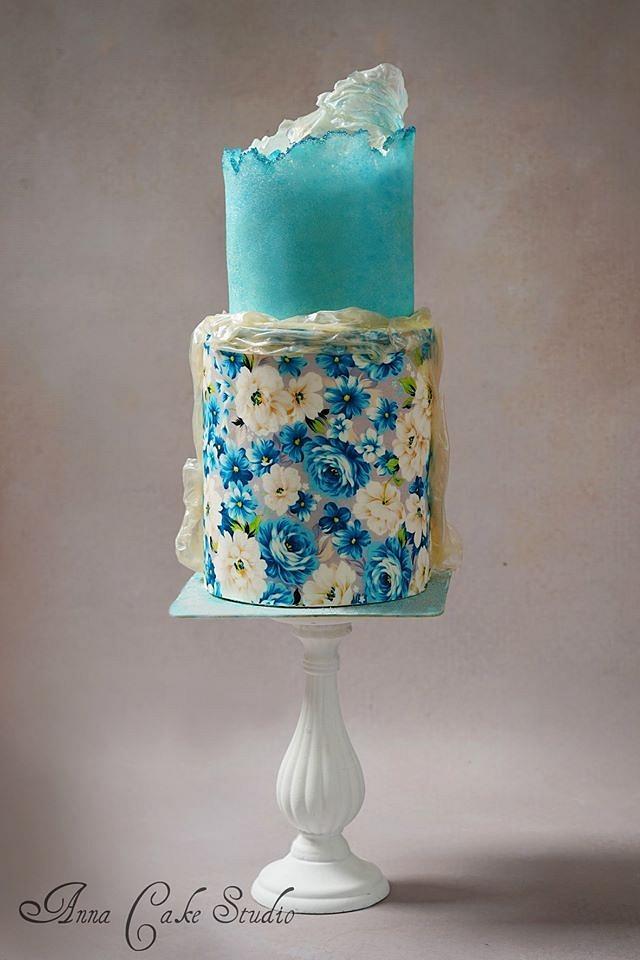 Cake with sugar sheet