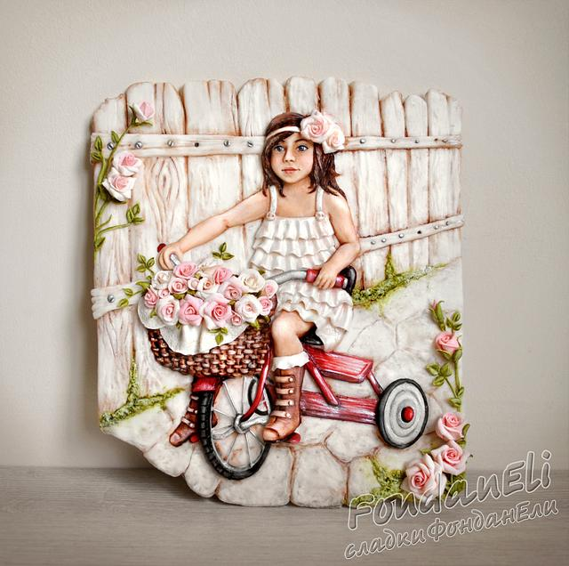 Girl with a bicycle (shabby-chic style)