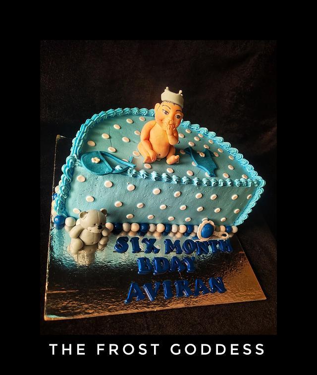 An half birthday cake