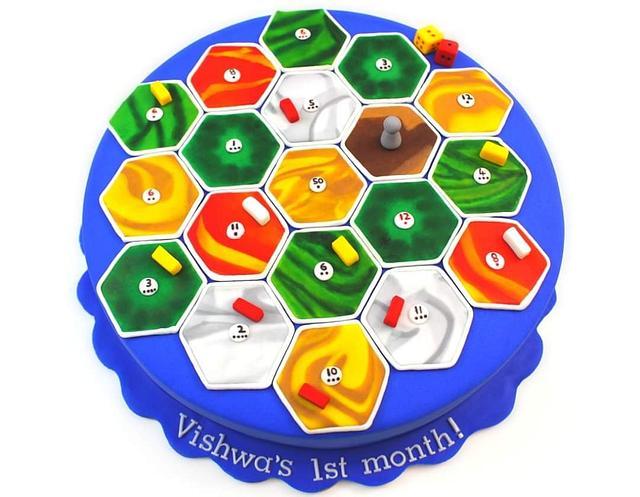 Catan Board Game Theme Cake