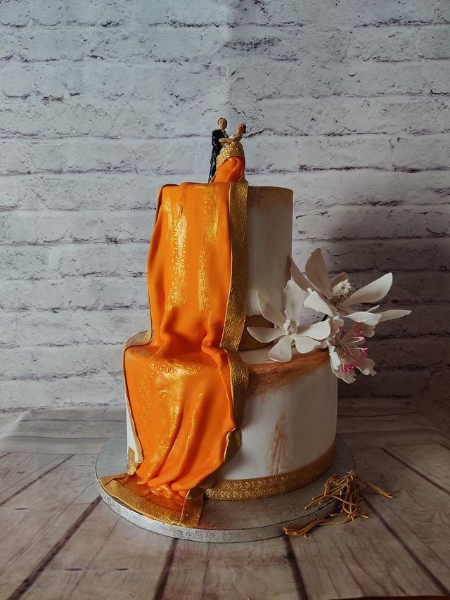 Saree Drape Engagement Cake