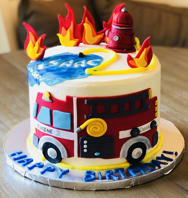 Cool Fire Truck Birthday Cake Cake By Mermade Cakesdecor Birthday Cards Printable Nowaargucafe Filternl