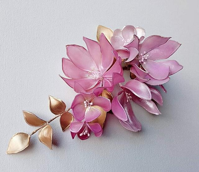 Chocolate with flowers from rice paper