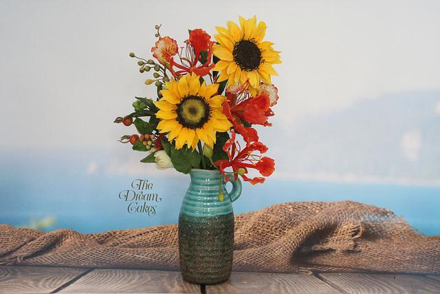 Sugar Sunflower, Gulmohar and foliage