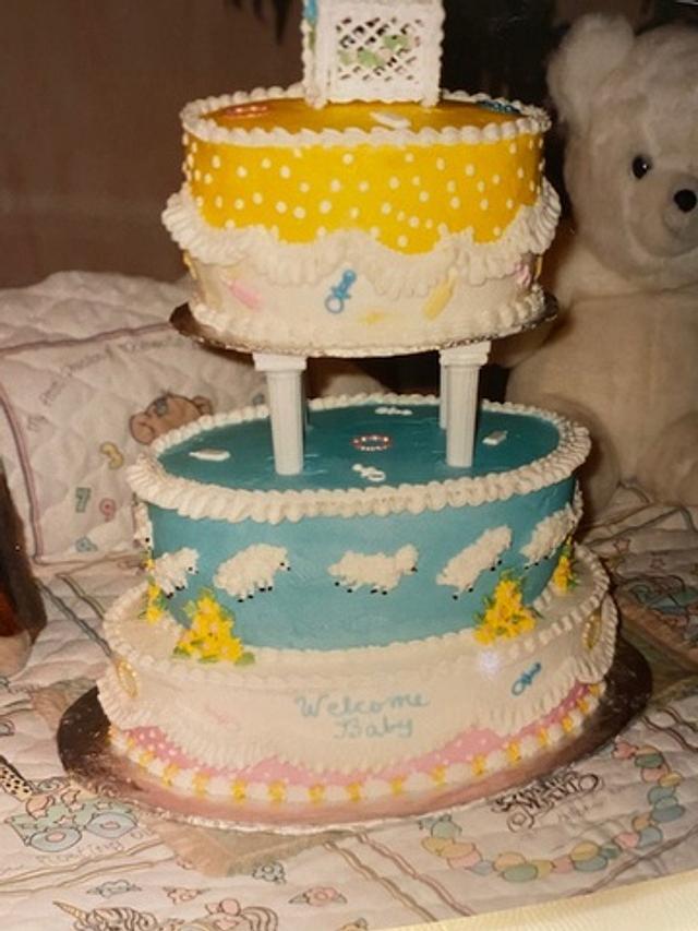 Playful Sheep Baby Shower Cake