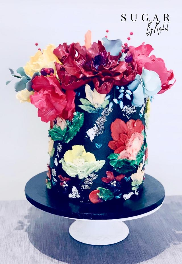 Palette Knife Painted Birthday Cake