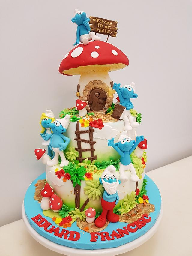 The smurfs party cake