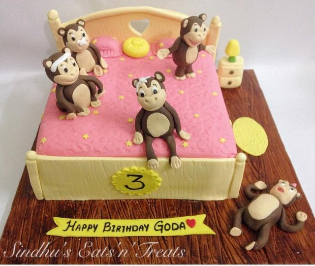 Superb Five Little Monkeys Rhyme Cake Cake By Sindhus Cakesdecor Personalised Birthday Cards Vishlily Jamesorg