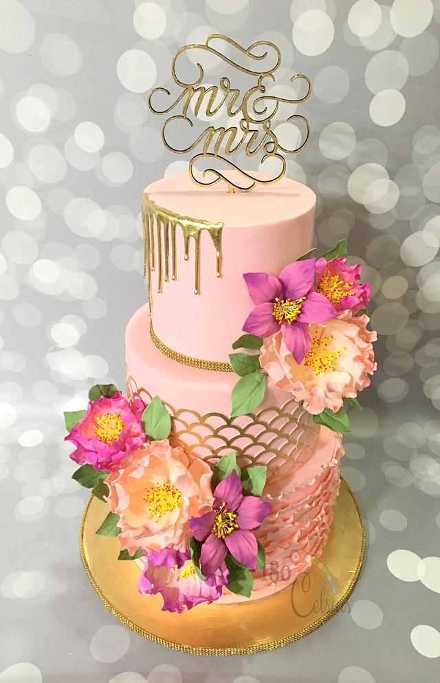 Pink and Fuchsia Wedding Cake