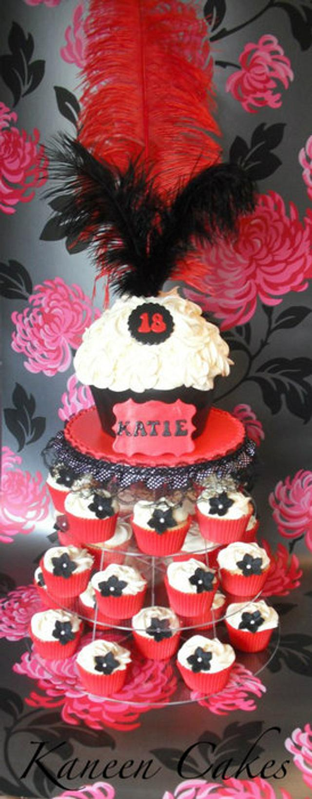 Burlesque themed giant cupcake and smaller cupcakes