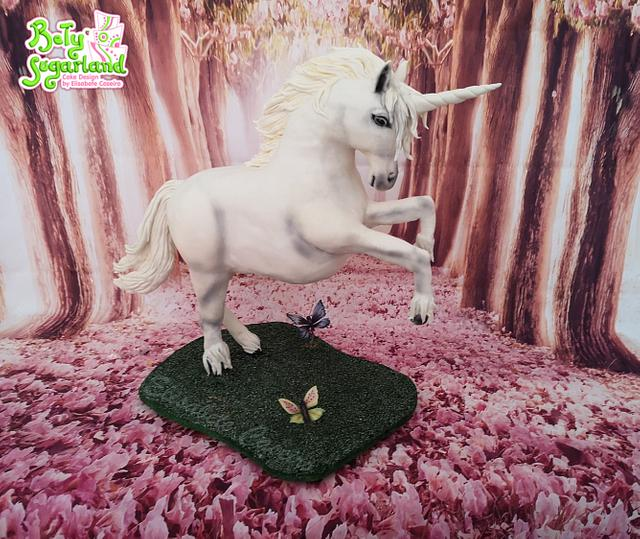 Unicorn gravity defying cake