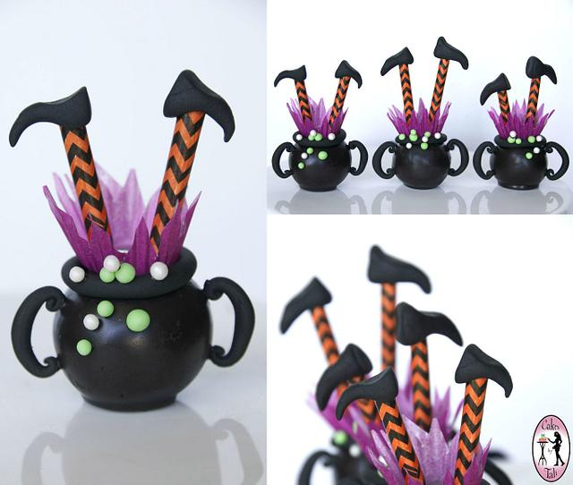 Witch in a cauldron cake-pops