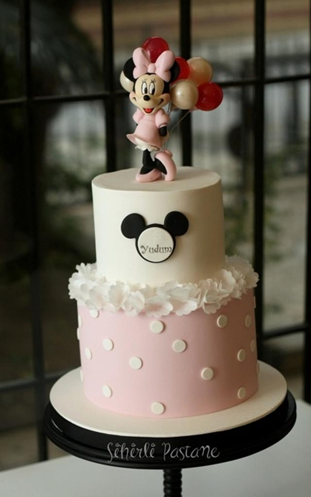 Pink Minnie Mouse Cake with Balloons