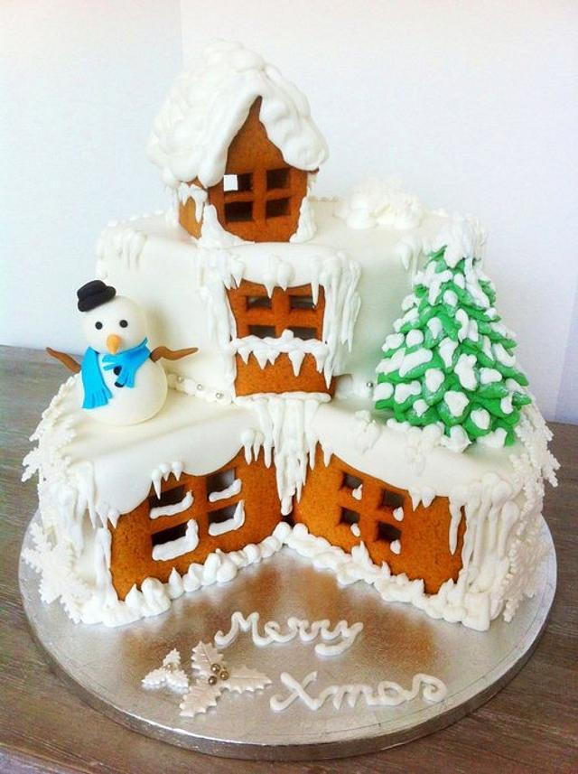 Snowy village cake