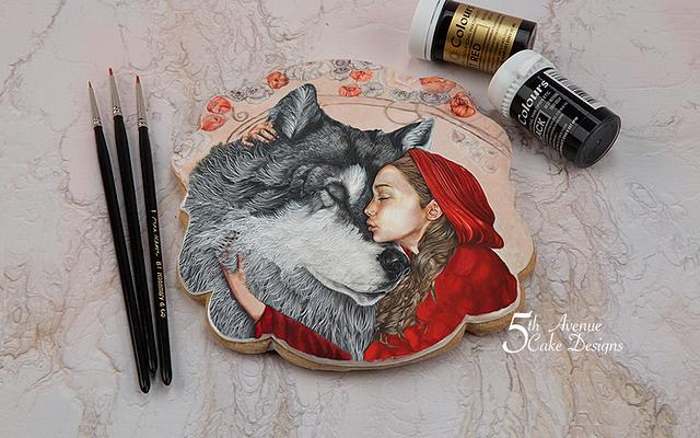 Little Red Riding Hood and Wolf Cookie Art Card 🐺☃️🎄