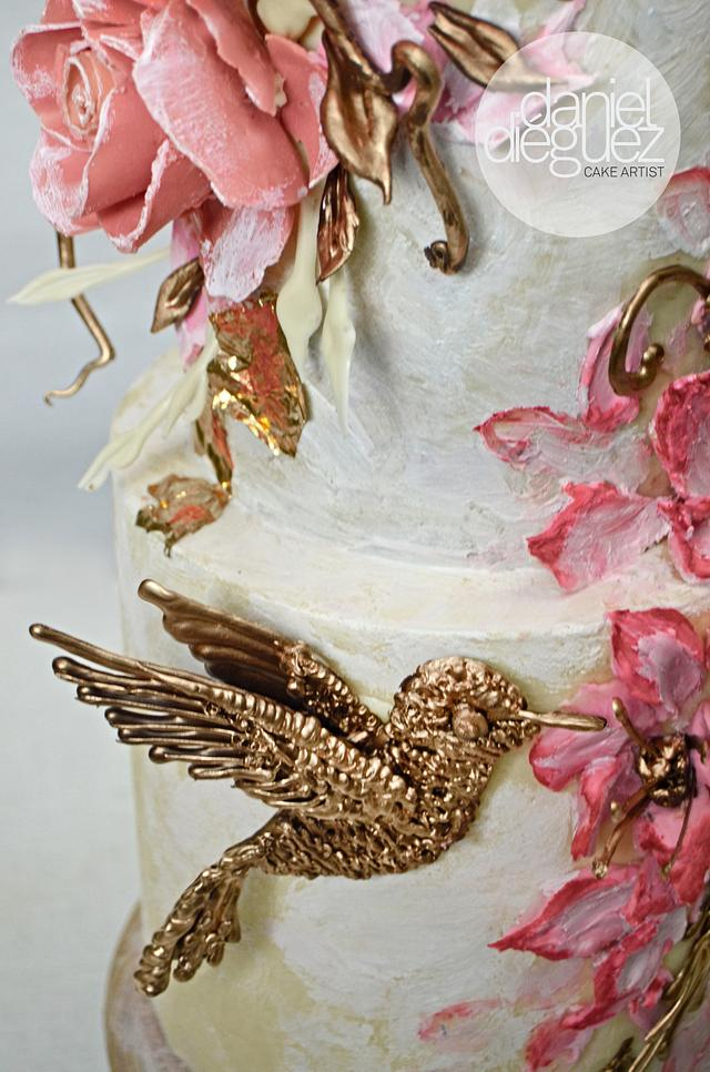 """""""Golden Hummingbird Wedding Cake"""" NEW CLASS for 2018."""