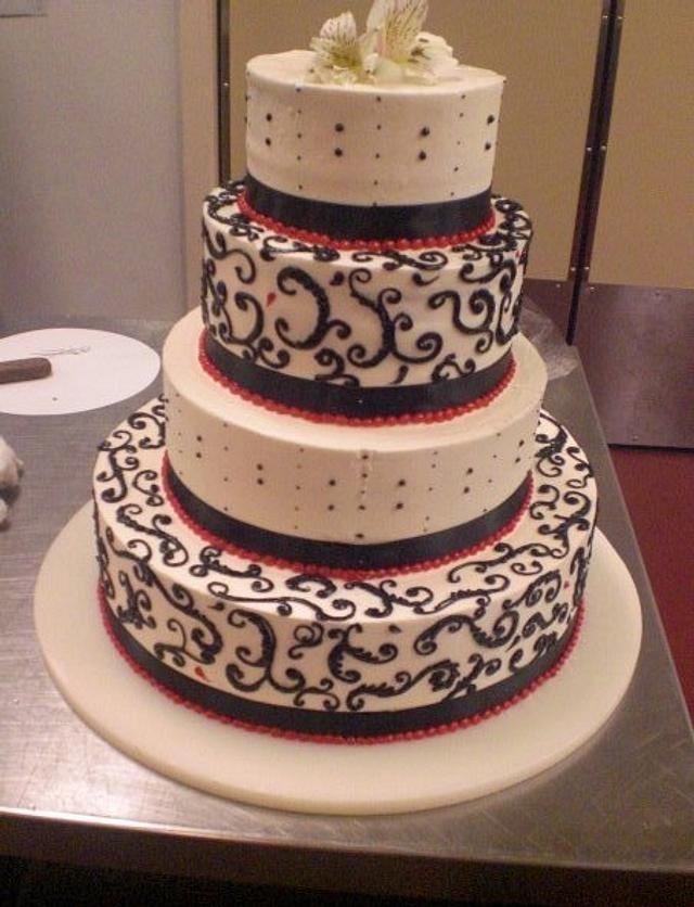 Black,White and red wedding cake