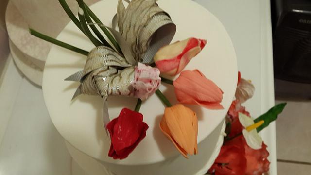 Three tier Tulips Wedding Cake