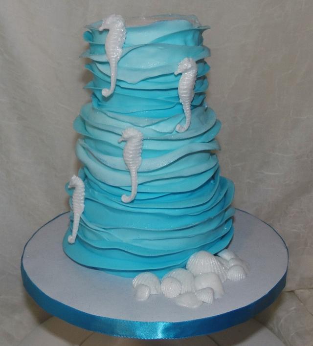 Beach and Seahorse Birthday Cake