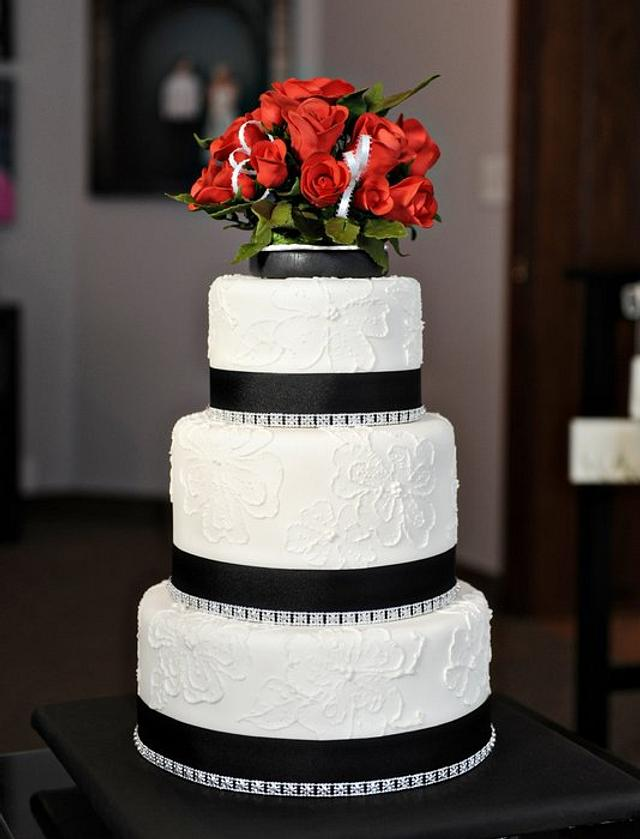 Red Roses, Brush Embroidery, and Bling